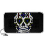 Grunge Day of the Dead in Blue & Red Portable Speakers