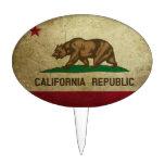 Grunge de la bandera de California Decoraciones De Tartas