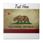 Grunge de la bandera de California Azulejo Cerámica