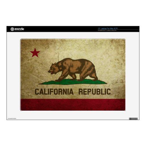 Grunge de la bandera de California Skins Para 38,1cm Portátil