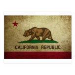 Grunge de la bandera de California Tarjetas Postales