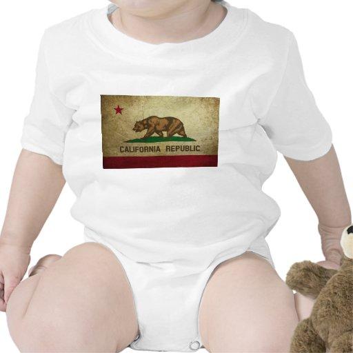 Grunge de la bandera de California Trajes De Bebé
