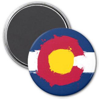 Grunge de la bandera de Colorado Imán Redondo 7 Cm