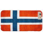 Grunge de la bandera de Noruega Funda De iPhone 6 Plus Barely There