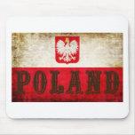 Grunge de la bandera de Polonia Tapete De Ratón