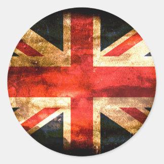 Grunge de la bandera de Reino Unido Pegatina Redonda