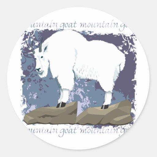 Grunge de la cabra de montaña pegatina redonda