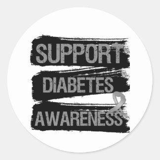 Grunge de la conciencia de la diabetes de la ayuda pegatina redonda