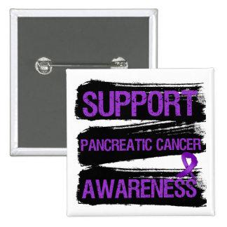 Grunge de la conciencia del cáncer pancreático de  pin cuadrada 5 cm