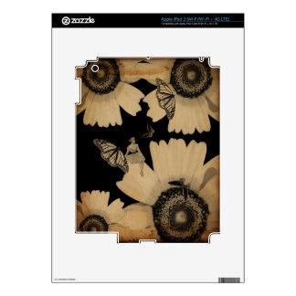 Grunge de la mariposa de la flor de la mujer del iPad 3 pegatinas skins