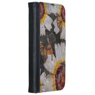 Grunge de la mariposa de la mujer de los girasoles funda cartera para iPhone 6