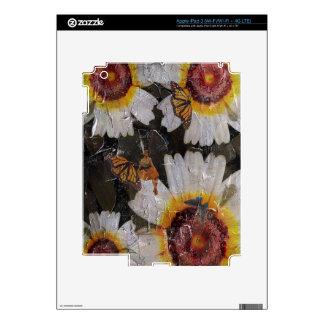 Grunge de la mariposa de la mujer de los girasoles pegatina skin para iPad 3