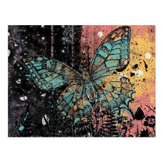 Grunge de la mariposa tarjeta postal
