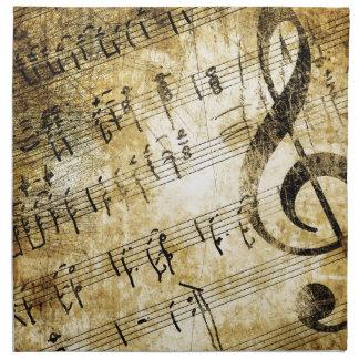 Grunge de la partitura musical servilleta de papel