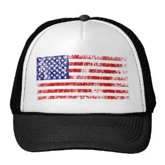 Grunge de los E.E.U.U. de la bandera americana Gorras De Camionero