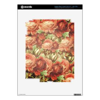 Grunge de los rosas del vintage iPad 3 pegatinas skins