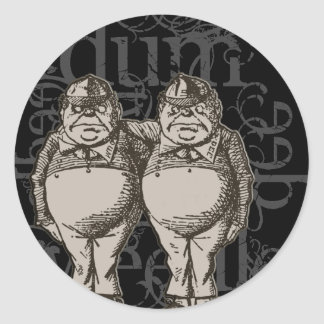 Grunge de Tweedledum y de Tweedledee (sola figura) Pegatina Redonda