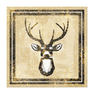 Grunge Deer Head Buck Wrapped Canvas