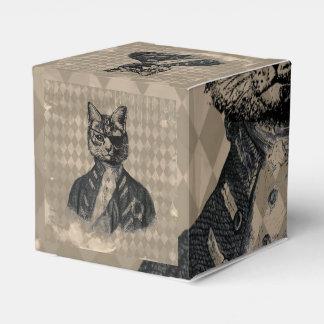 Grunge del gato del Harlequin Cajas Para Regalos De Boda