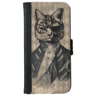 Grunge del gato del Harlequin Funda Cartera Para iPhone 6