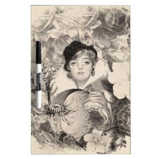 Grunge del jardín de flores de la mujer del tablero blanco