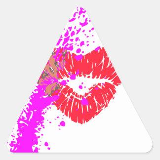 grunge del lápiz labial pegatina triangular