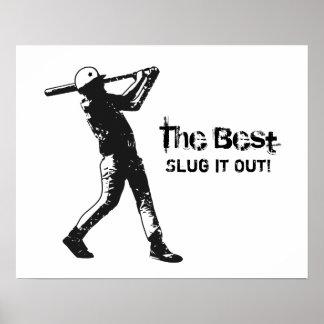 Grunge del negro del jugador de béisbol del batead posters