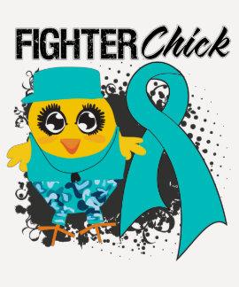 Grunge del polluelo del combatiente del cáncer camisetas