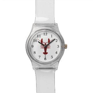 grunge del rojo de la langosta relojes de pulsera