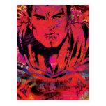 Grunge del rojo del superhombre tarjetas postales