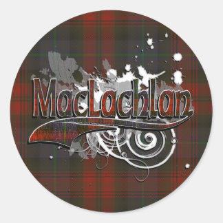 Grunge del tartán de MacLachlan Etiqueta Redonda