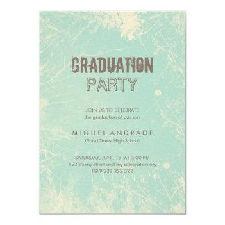 """Grunge del verde de la fiesta de graduación de la invitación 4.5"""" x 6.25"""""""