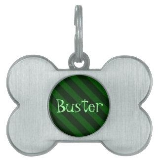 Grunge del verde esmeralda de la raya del caramelo placa mascota