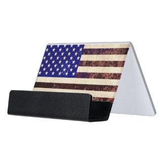 Grunge del vintage de la bandera americana caja de tarjetas de visita para escritorio