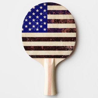 Grunge del vintage de la bandera americana pala de ping pong