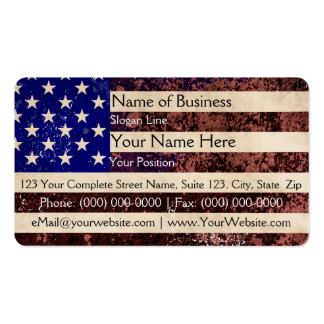 Grunge del vintage de la bandera americana tarjetas de visita