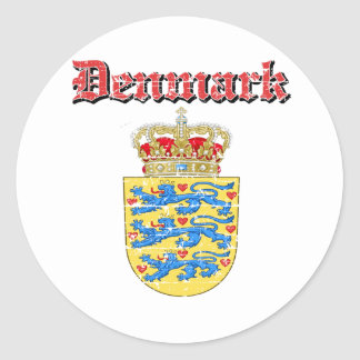 Grunge Denmark coat of arms designs Classic Round Sticker