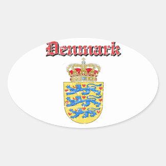 Grunge Denmark coat of arms designs Oval Sticker