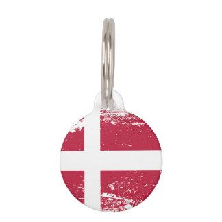 Grunge Denmark Flag Pet ID Tag