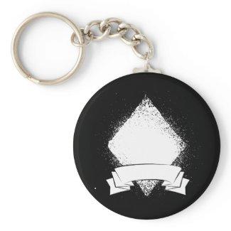 Grunge Diamond in White zazzle_keychain