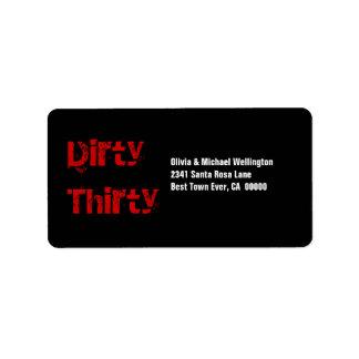 Grunge Dirty Thirty 30 Birthday Red Black White Label