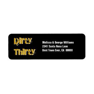 Grunge Dirty Thirty 30th Birthday Gold Black Label