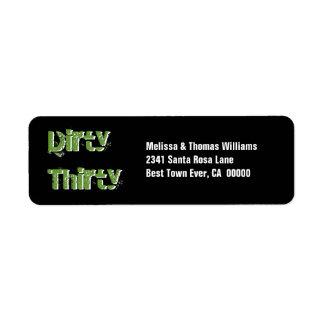 Grunge Dirty Thirty 30th Birthday Green Black Label