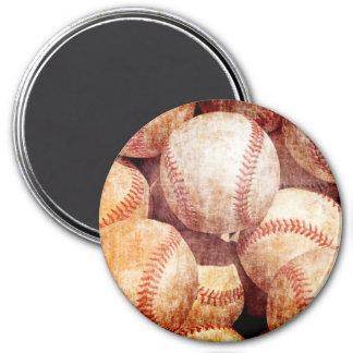 Grunge Dirty Vintage Worn Baseball Sport Balls 3 Inch Round Magnet
