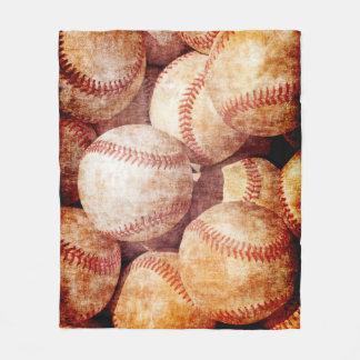 Grunge Dirty Vintage Worn Baseball Sport Balls Fleece Blanket