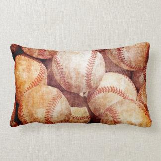 Grunge Dirty Vintage Worn Baseball Sport Balls Lumbar Pillow