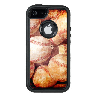 Grunge Dirty Vintage Worn Baseball Sport Balls OtterBox Defender iPhone Case