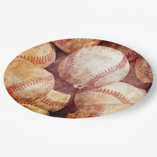 Grunge Dirty Vintage Worn Baseball Sport Balls Paper Plate