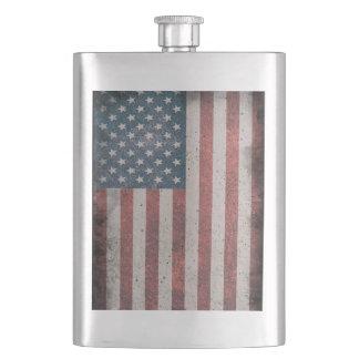 Grunge Distressed American Flag Flask