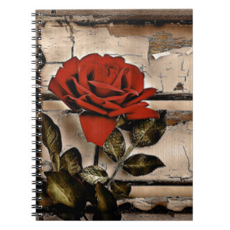 Grunge Distressed Barn Wood Rustic Red Rose Notebook